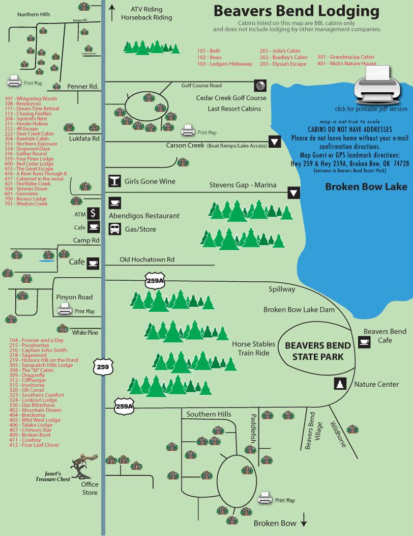 Beavers Bend Lodging map